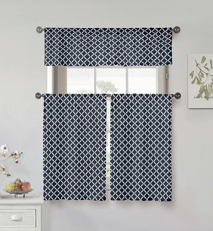 Home Maison Moana Geometric Print Linen Textured Kitchen Tier & Valance Set | Small Window Curtain for Cafe, Bath, Laundry, Bedroom Royal Blue