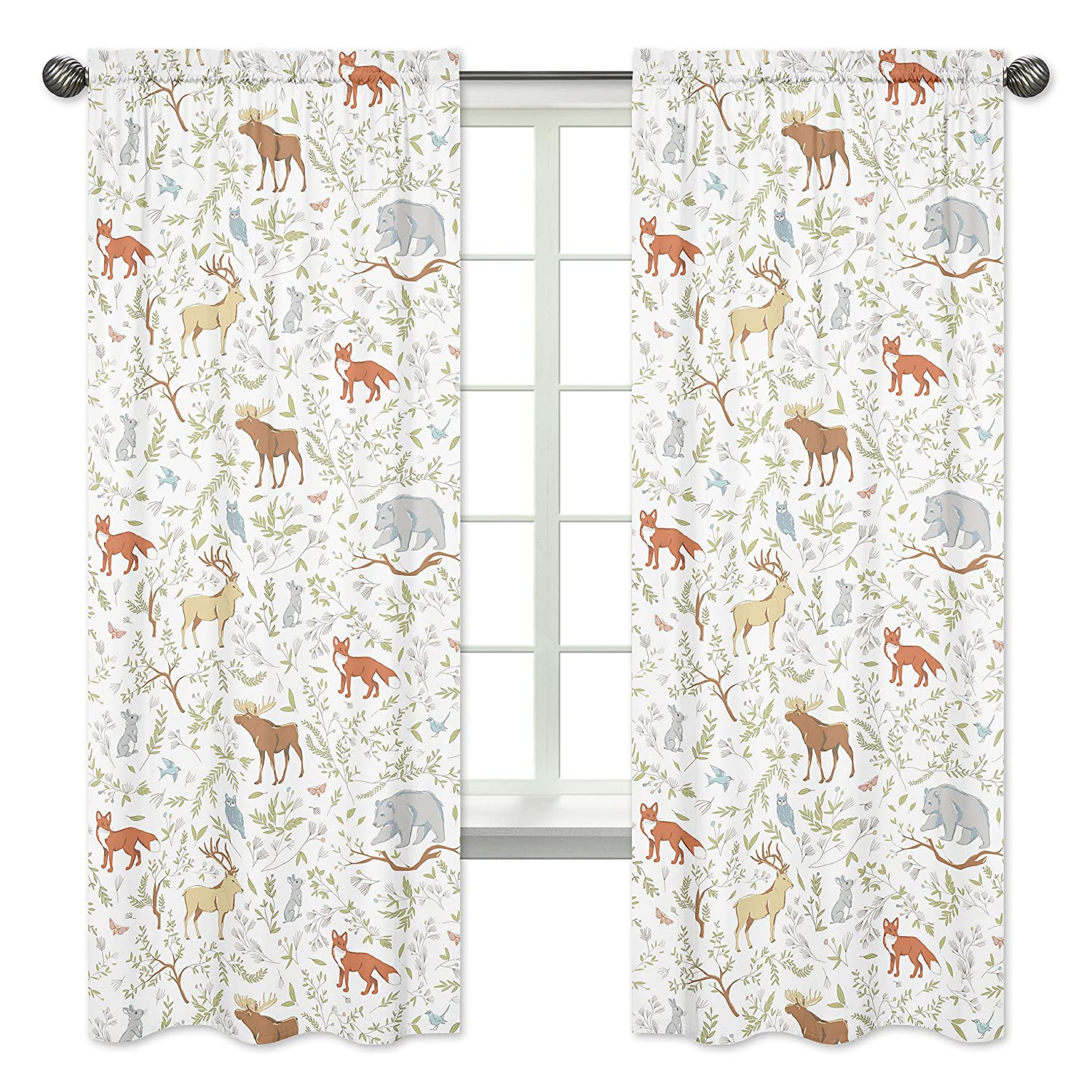 Blue, Grey and White Woodland Deer Fox Bear Animal Toile Girl or Boy Bedroom Decor Window Treatment Panels - Set of 2