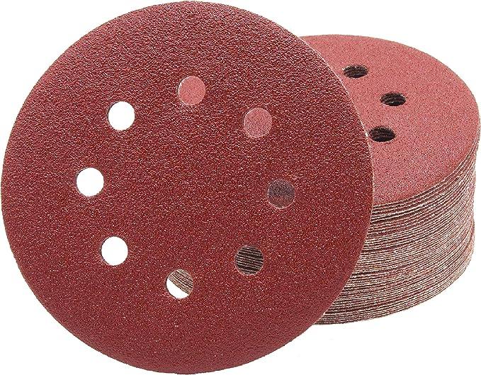 10pcs 125mm 5 pouces 8 trous Disques de Pon/çage Forme Ronde Rouge Papier de Verre Tampon de Polissage 60//80//100//120//150//180//240//320//800//1000 grains 180#