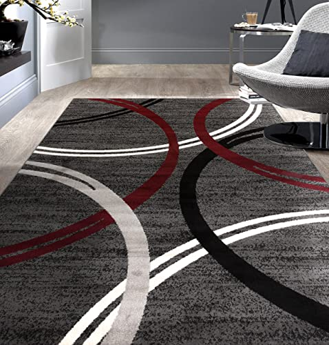 Rugshop Modern Wavy Circles Desing Area Rug 5 3 x 7 3 Red