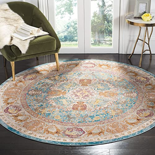 Safavieh Aria Collection Premium Wool Round Area Rug, 6 5 Diameter, Blue Orange