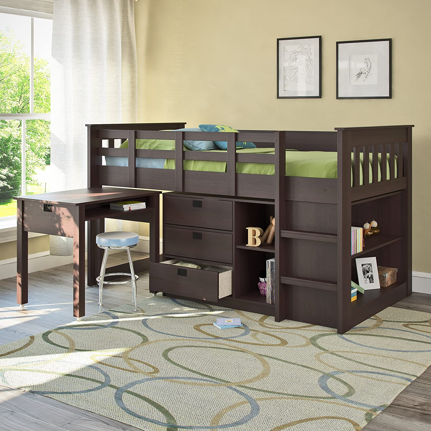 Design Bed With Desk amazon com corliving bmg 370 b madison loft bed with desk and storage singletwin rich espresso kitchen dining