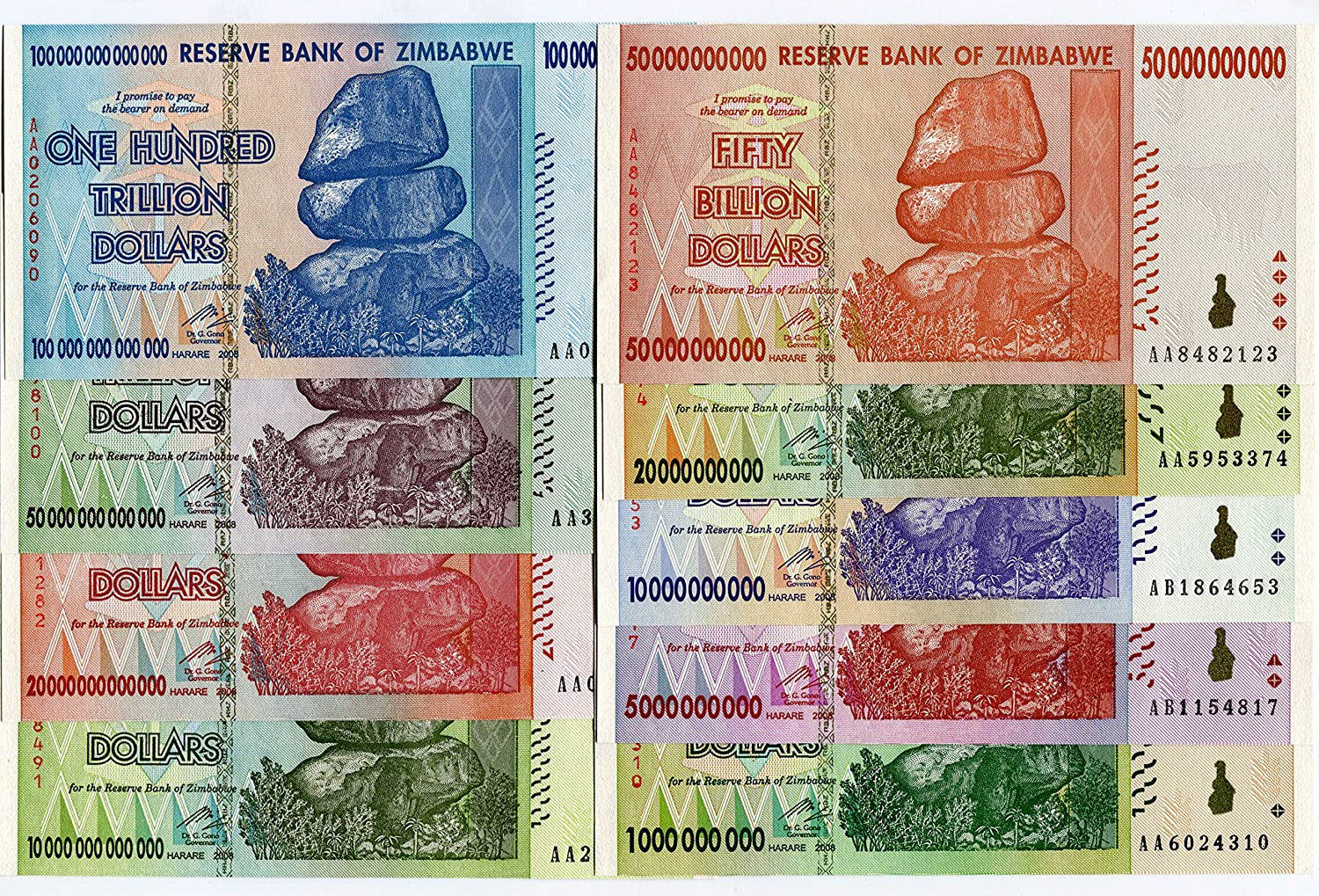 5 x Zimbabwe 50 trillion dollar banknotes-2008//LOW GRAD//POOR CONDITION CURRENCY
