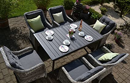 Amazon De Bomey Rattan Lounge Set I Gartenmobel Set Como Xl 7 Teilig I Essgarnitur Mit Polstern I Sitzgruppe Grau Tisch Ausziehbar Polster Grau I Dining Lounge Fur Terrasse Wintergarten