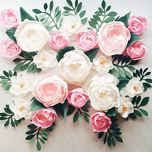 Paper flower wall display. Girl nursery wall decor. Garden party photo  booth. Crepe