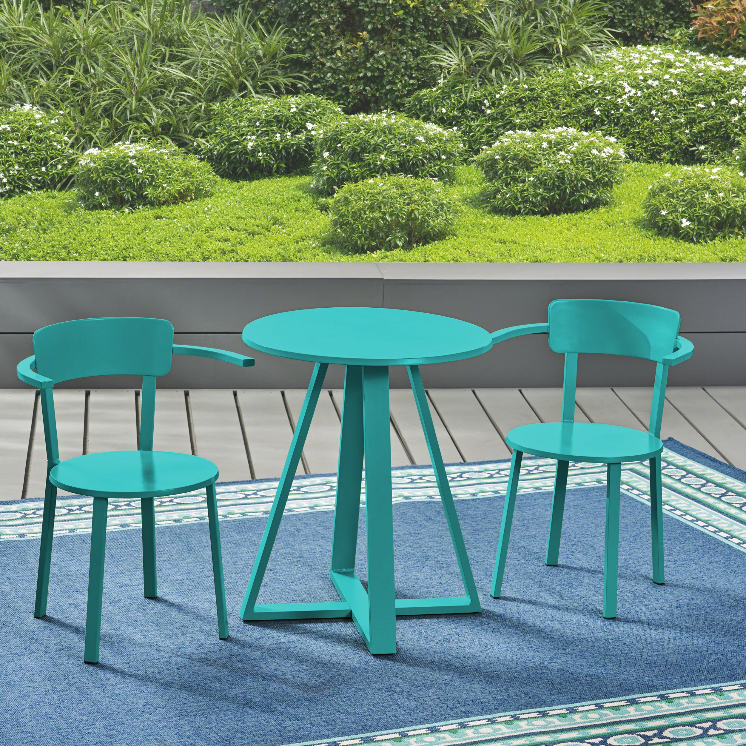 Great Deal Furniture Kate Outdoor Iron Bistro Set, Matte Teal by Great Deal Furniture (Image #3)