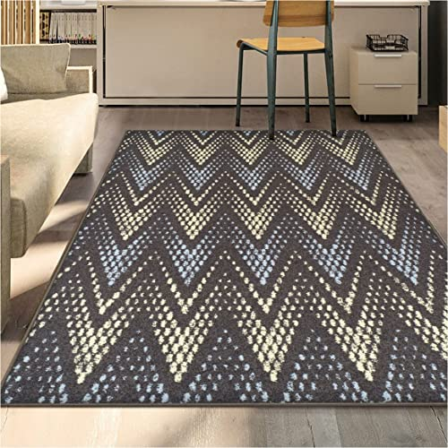 Superior Arete Collection Area Rug, 6mm Pile Height with Jute Backing, Affordable and Contemporary Rugs, Chic Designer Inspired Chevron Pattern – 5 x 8 Rug, Slate
