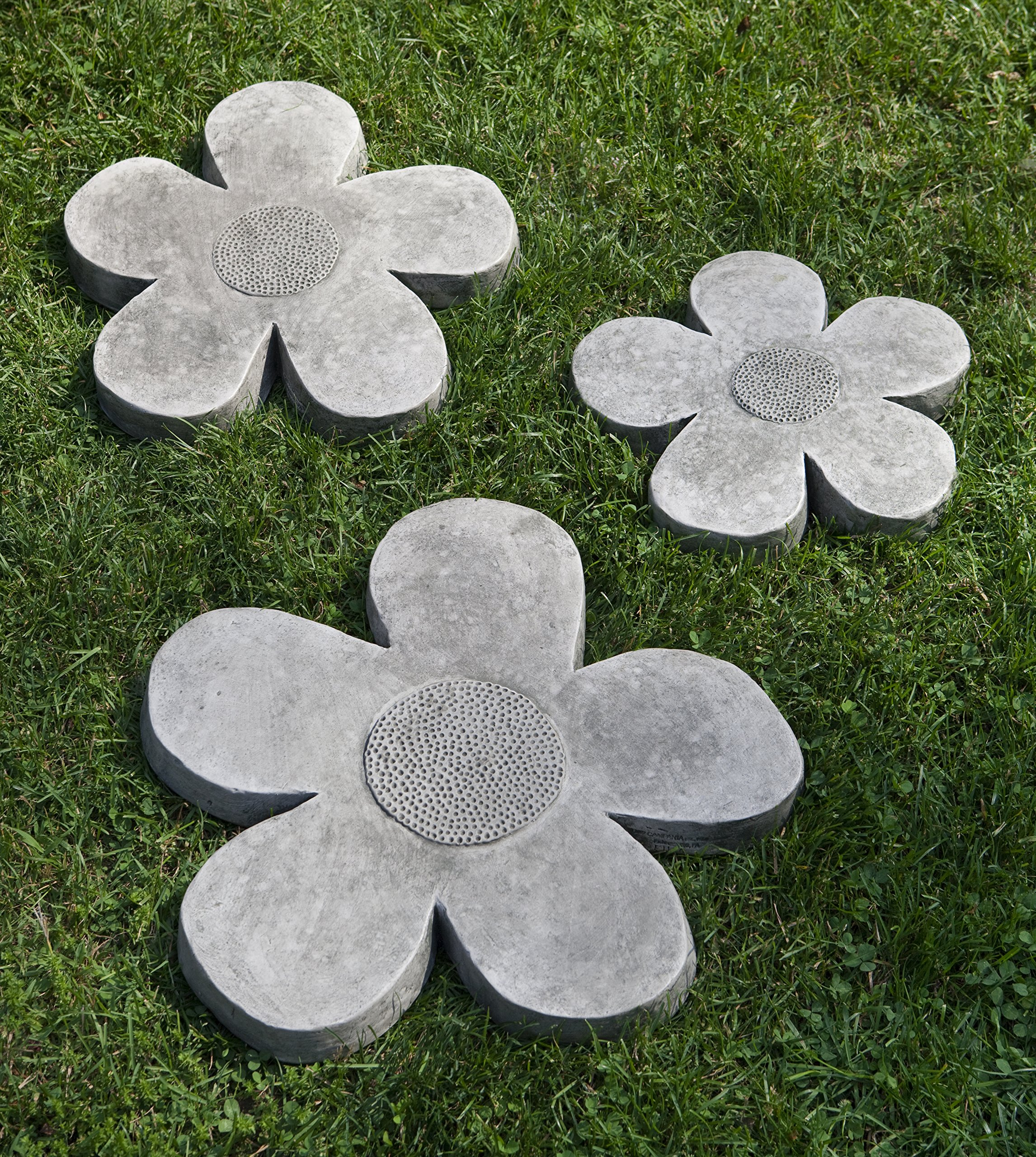 Campania International E-111-GS Flower Power Step Stone, Grey Stone Finish