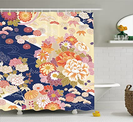 Ambesonne Japanese Shower Curtain Traditional Kimono Motifs Composition Asian Ethnic Floral Patterns Vintage Artwork