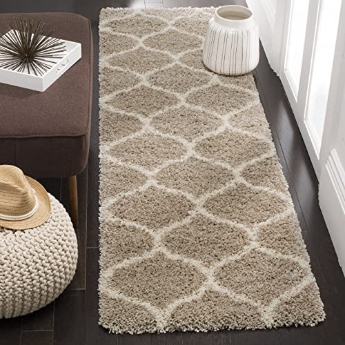 Safavieh Hudson Shag Collection SGH280S Beige and Ivory Moroccan Ogee Plush Area Rug 2 x 3