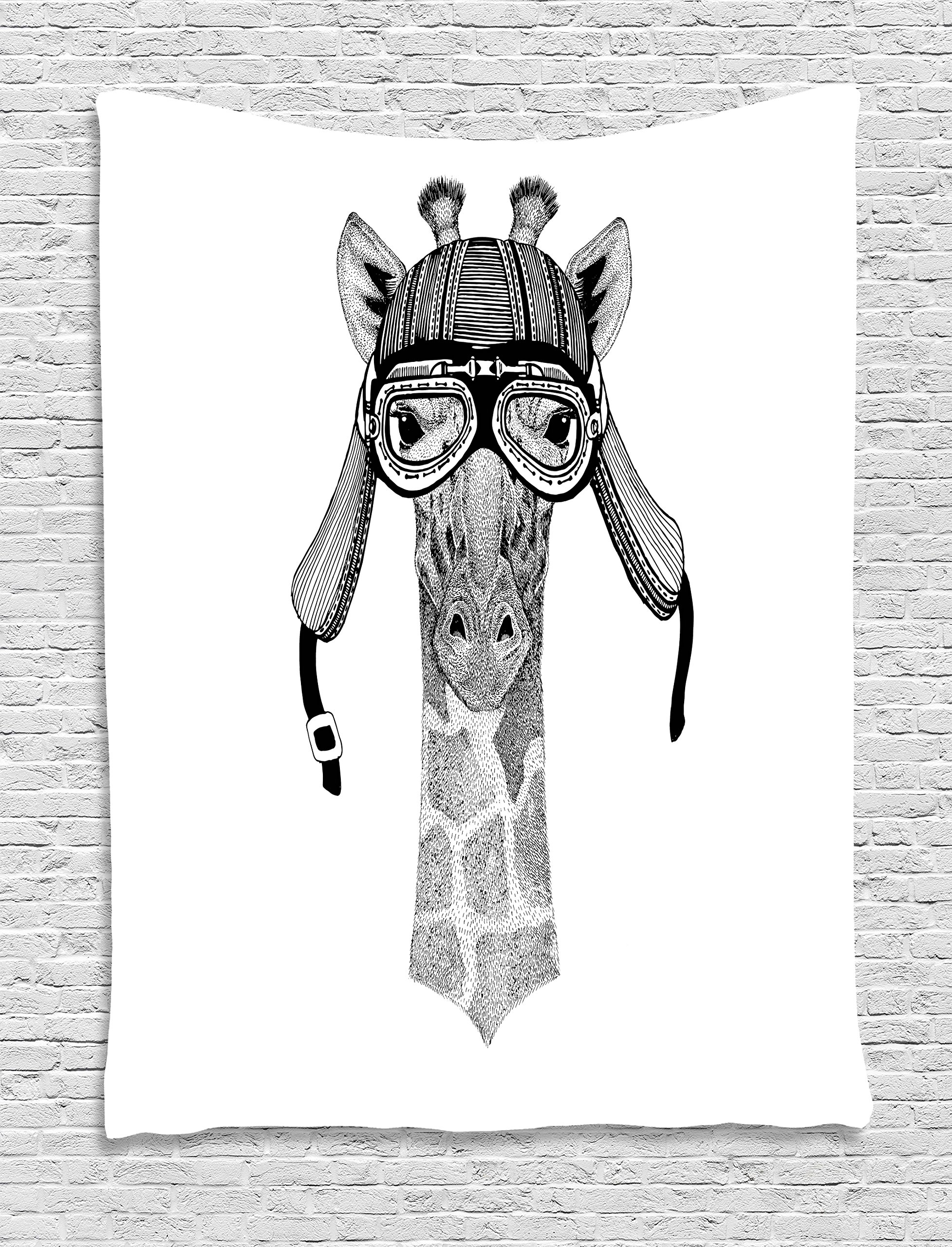 Lunarable Giraffe Tapestry by, Vintage Motorcycle Helmet Wearing Animal Monochrome Retro Influenced Character, Wall Hanging for Bedroom Living Room Dorm, 60 W X 80 L Inches, Black White
