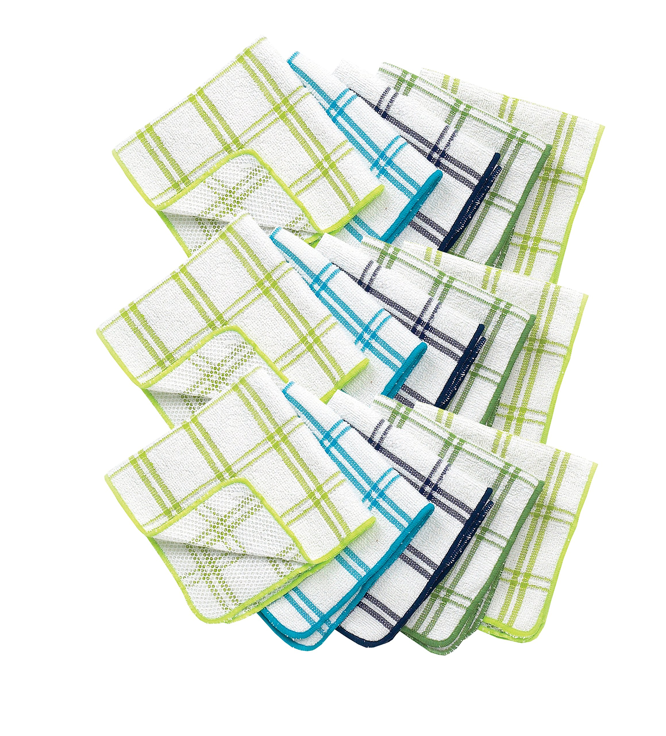 Ritz 100% Cotton 12-inch x 12-inch Kitchen Dish Towel, Gentle Cleaning Wash Cloth with Poly Scour Side, Blue/Green, 5-Pack by Ritz