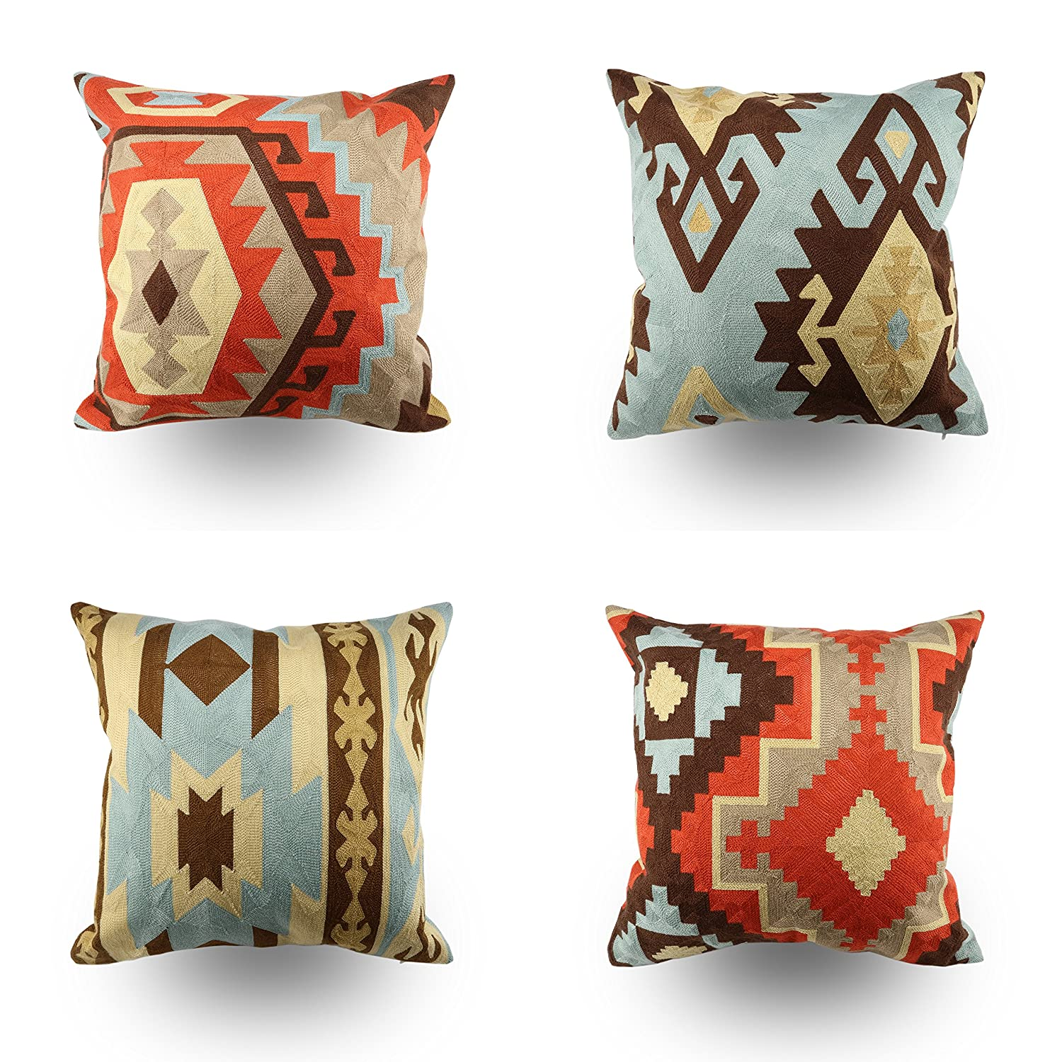 Amazon Com Hodeco Embroidery Throw Pillow Covers 18x18 Inches