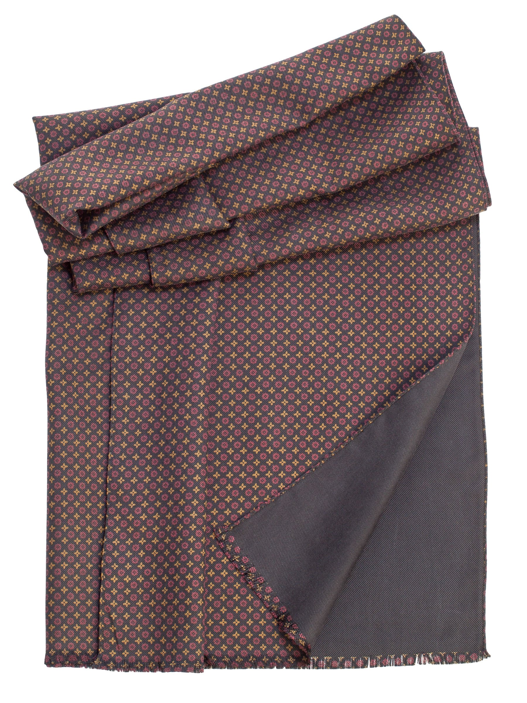 Elizabetta Men's Double Face Heavy Silk Twill Reversible Italian Luxury Scarf (Toscana Black)