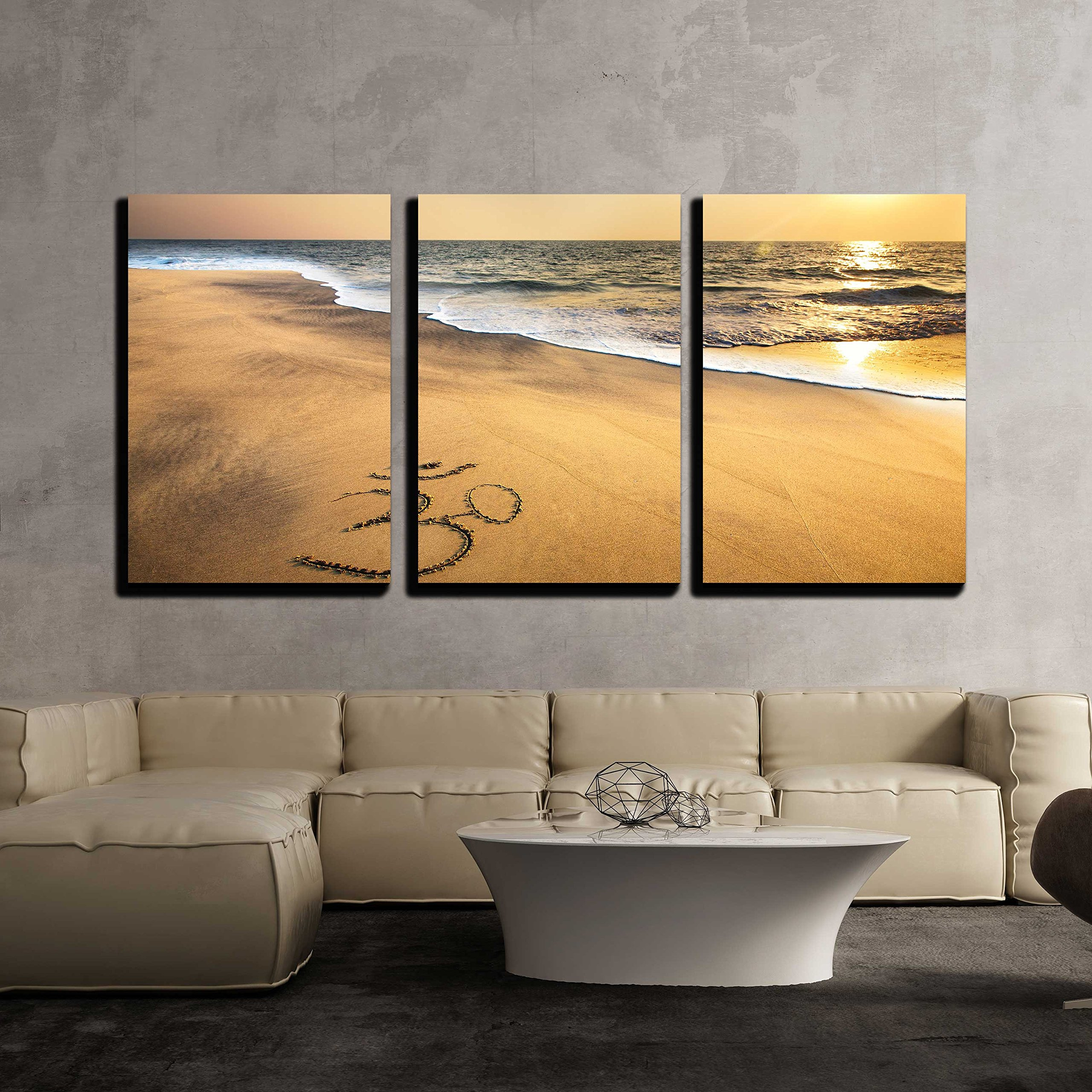 wall26 - 3 Piece Canvas Wall Art - Om Symbol on the Sand at the Beach near the Ocean - Modern Home Decor Stretched and Framed Ready to Hang - 16''x24''x3 Panels