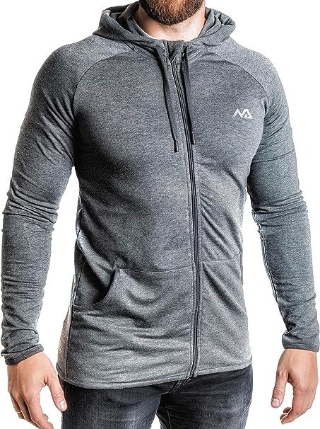 Natural Athlet Herren Fitness Trainingsjacke in Anthrazit