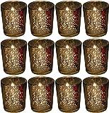 Biedermann Rustic Glass Votive Holder, Gold, Set of 12