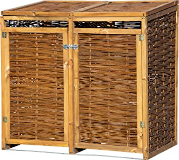 Dobar Wetterfeste Doppel Box Aus Holz Aufklappbares Mulltonnen