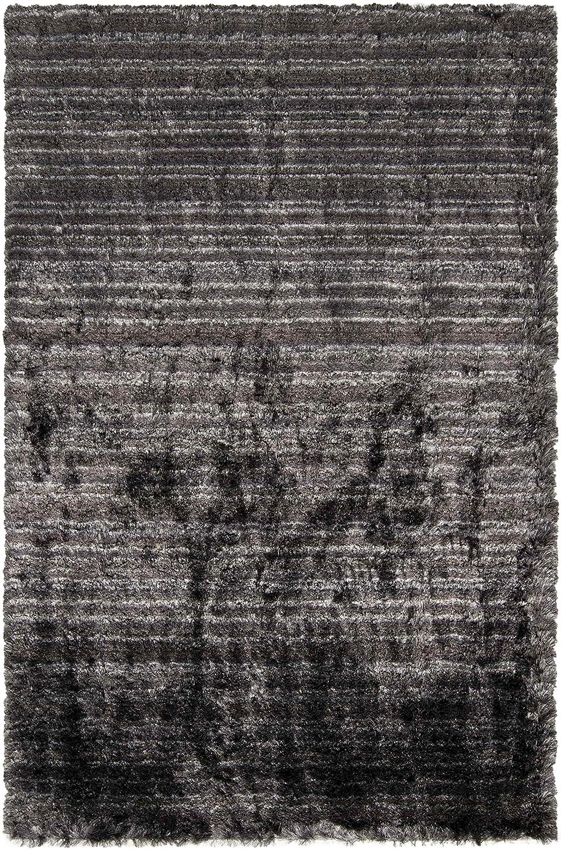 Surya Merlot MOT-7000 Transitional Hand Woven 100/% Polyester Jet Black 2 x 3 Stripes Accent Rug