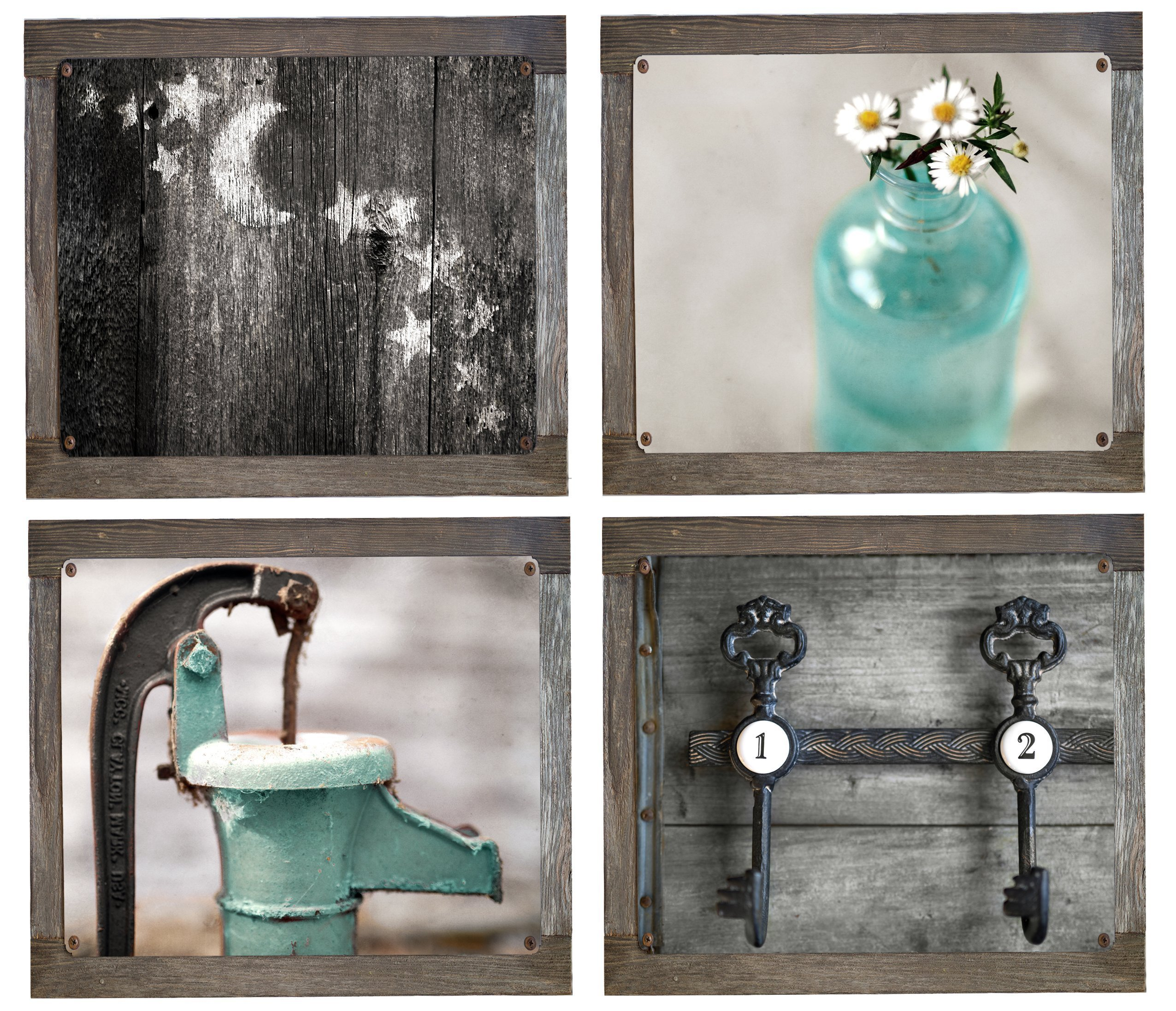Rustic Bath 4 Metal Print Set with Barnwood Frames- 12''X12'', Country Decor, Primative, Rustic Bath, Farmhouse, Teal, Aqua