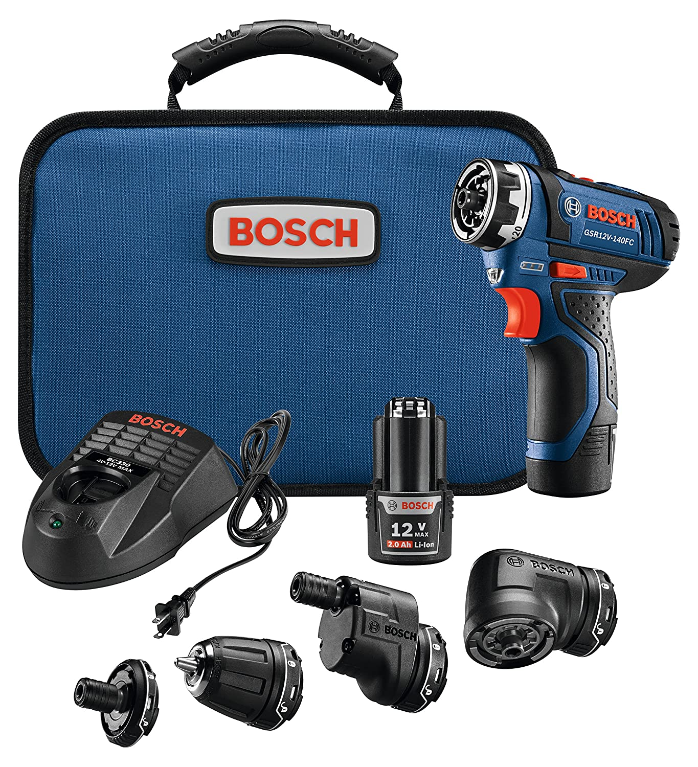 Bosch Power Tools Combo Kit - GSR12V-140FCB22 - 12V Flexiclick 5-In-1 Drill Set– One Tool Multiple Jobs - Power Drill Cordless Impact Driver - Perfect For Overhead Drilling, Contractors, DIY Project