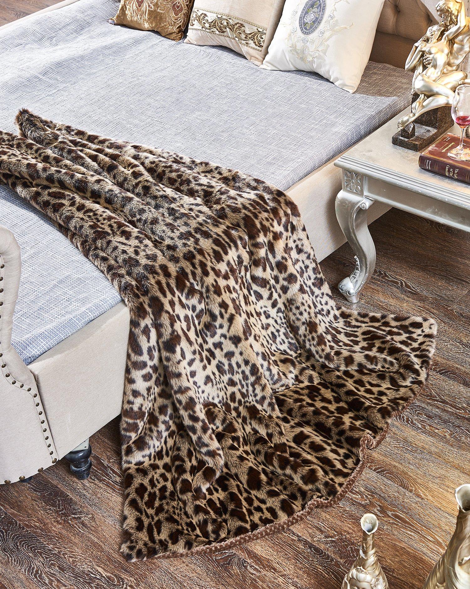 Lindsey Home Fashion Faux Fur Throw, Fur Blankets Super Soft Japanese Kanekalon Fiber, Sheepskin, Mink, Wolf, Bear, 60''x80'', 60''x70'', 50''x60'' 14 Colors (60x70(INCH), Dark Leopard) by Lindsey Home Fashion (Image #4)