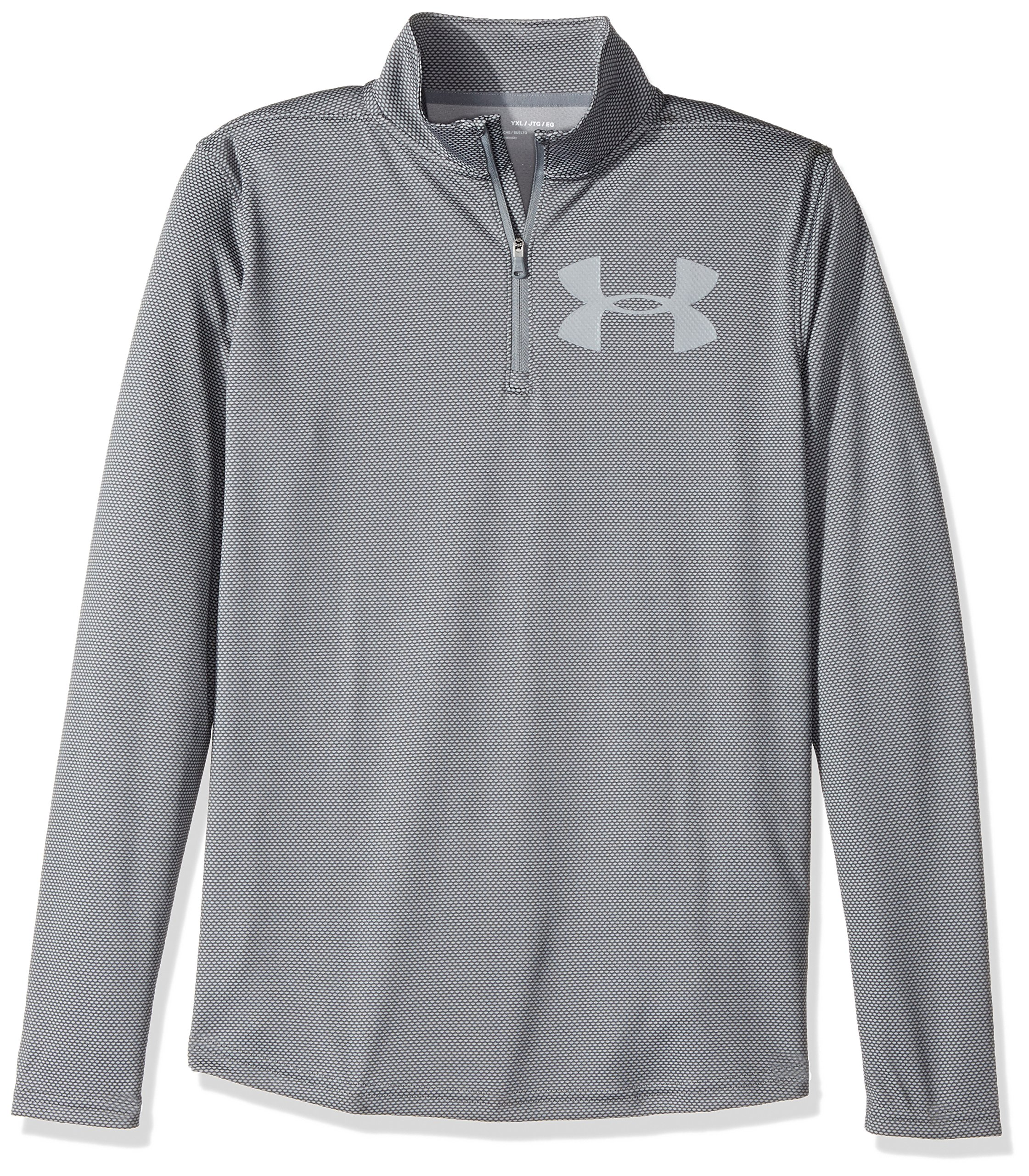 Under Armour Boys' Tech Textured ¼ Zip,Graphite /Steel, Youth Small by Under Armour