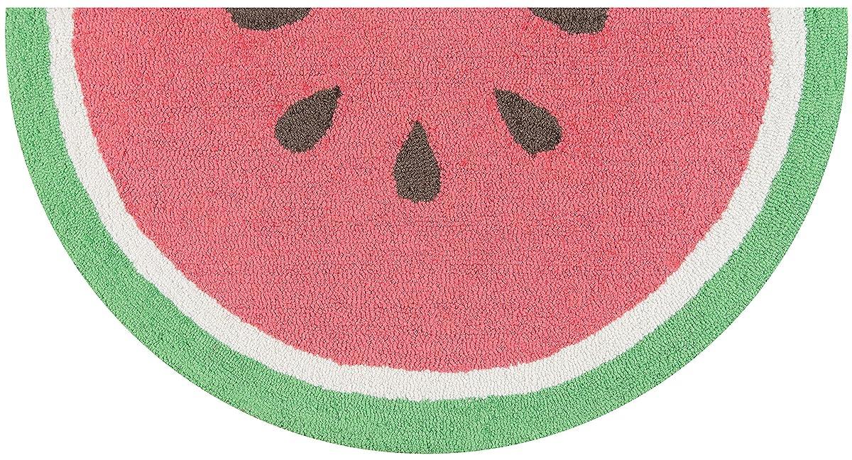 "Novogratz by Momeni CUCINCNA-3RED1630 Cucina Watermelon Kitchen Mat, 16"" x 3 Half Moon, Red"