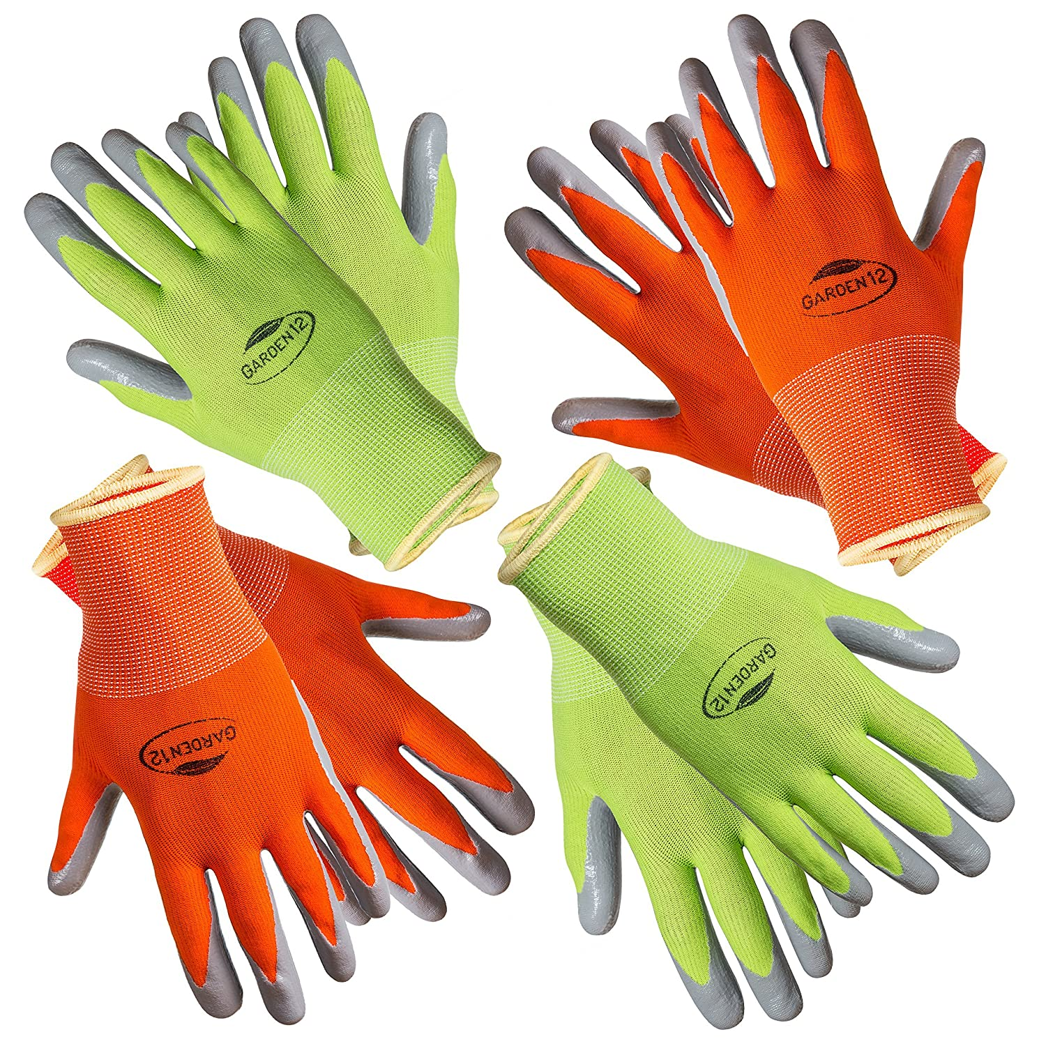 Working Gloves for Women. (4 pairs per package) Comfortable Gardening Gloves Medium Size. Breathable Nylon coated with puncture-resistant nitrile