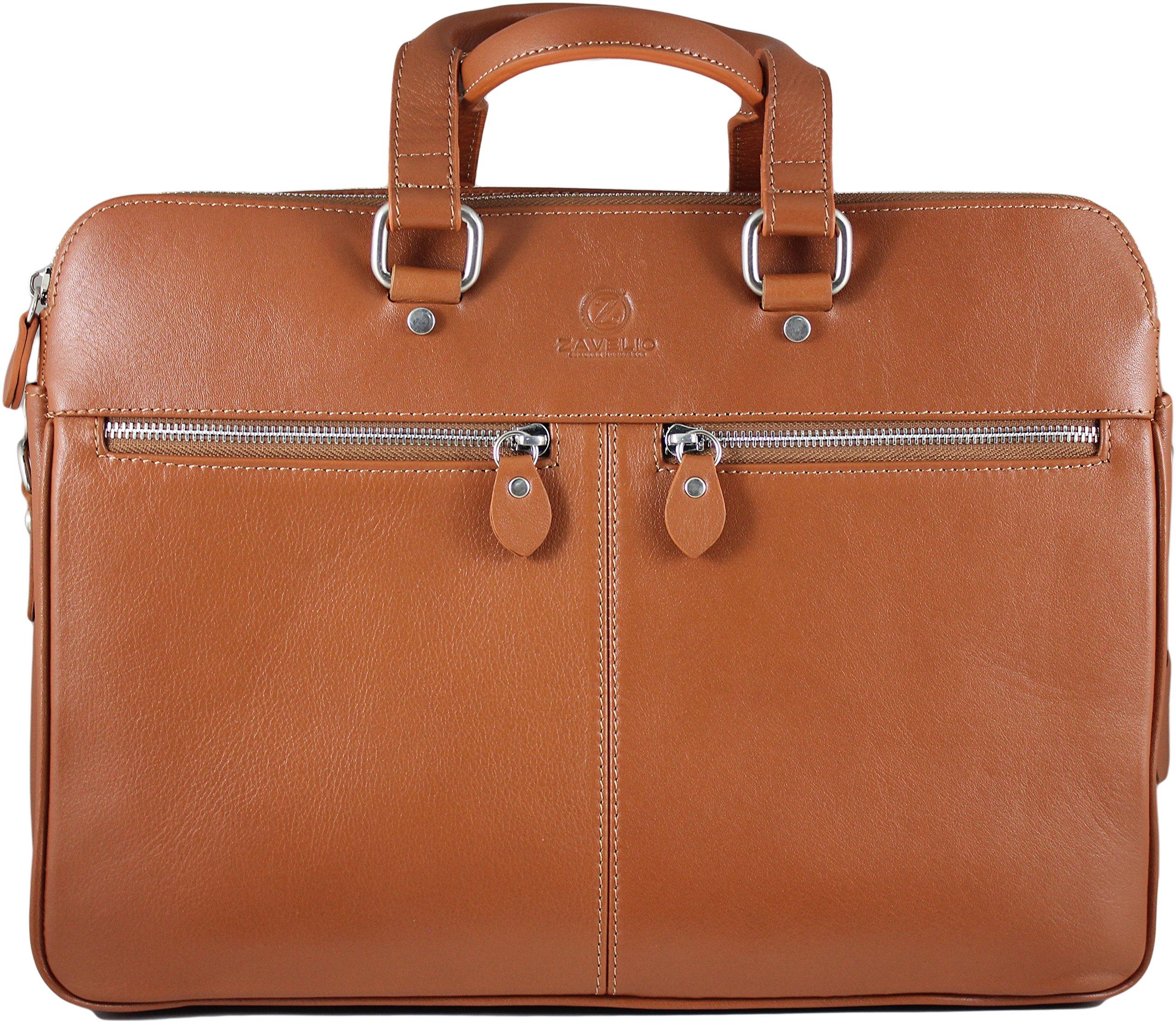 Zavelio Men's David Genuine Leather Business Briefcase Messenger Shoulder Bag Tan