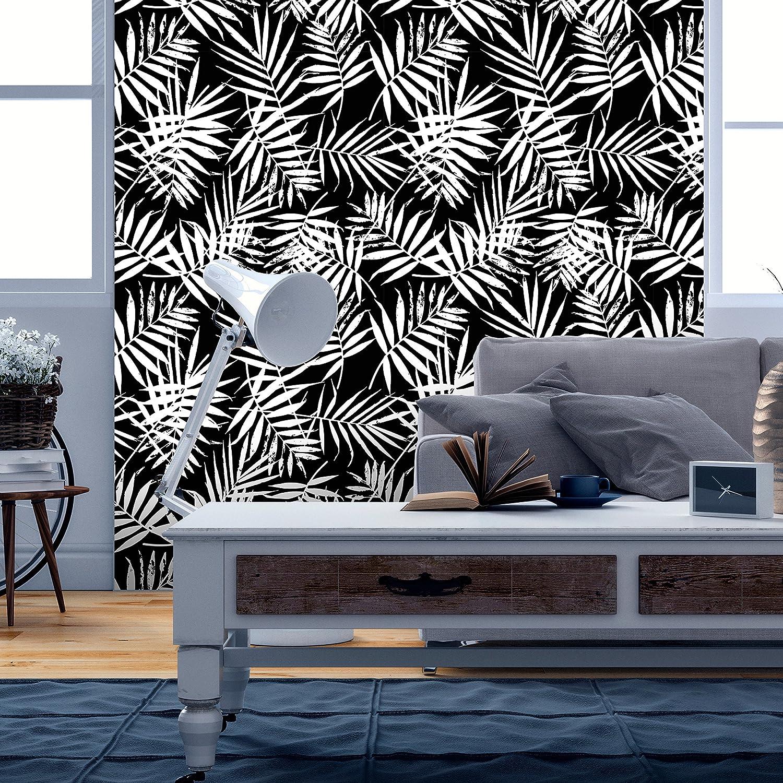 murando Papier peint intiss/é noir blanc10 m D/écoration Murale XXL Poster Tableaux Muraux Tapisserie Photo Panneau d/écoratif Photo sur le mur Trompe loeil feuilles motif de plante b-B-0310-j-a