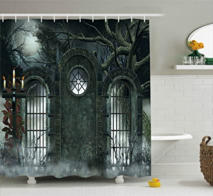 Horror House Decor Shower Curtain By Ambesonne, Moon Halloween Ancient  Historical Gate Gothic Background Candles