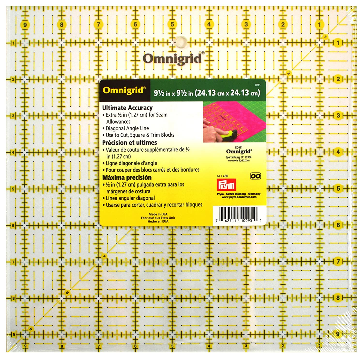 Omnigrid 9-1//2-Inch-by-9-1//2-Inch Quilters Square