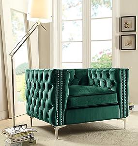 Iconic Home Da Vinci Accent Club Chair Velvet Button Tufted with Silver Nail Head Trim Silvertone Metal Y-Leg, Modern Contemporary, Green
