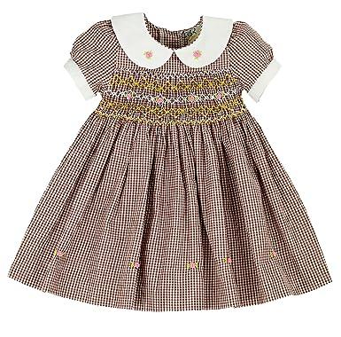 e6b05f5724c7 sissymini Mini Rose Buds Ghingham Brown Hand Smocked Girls Dress - Infant &  Toddler 2T