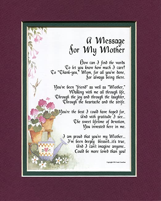 Amazon Com Mom Mother Poem Print For Mothers Day Or 50th 60th