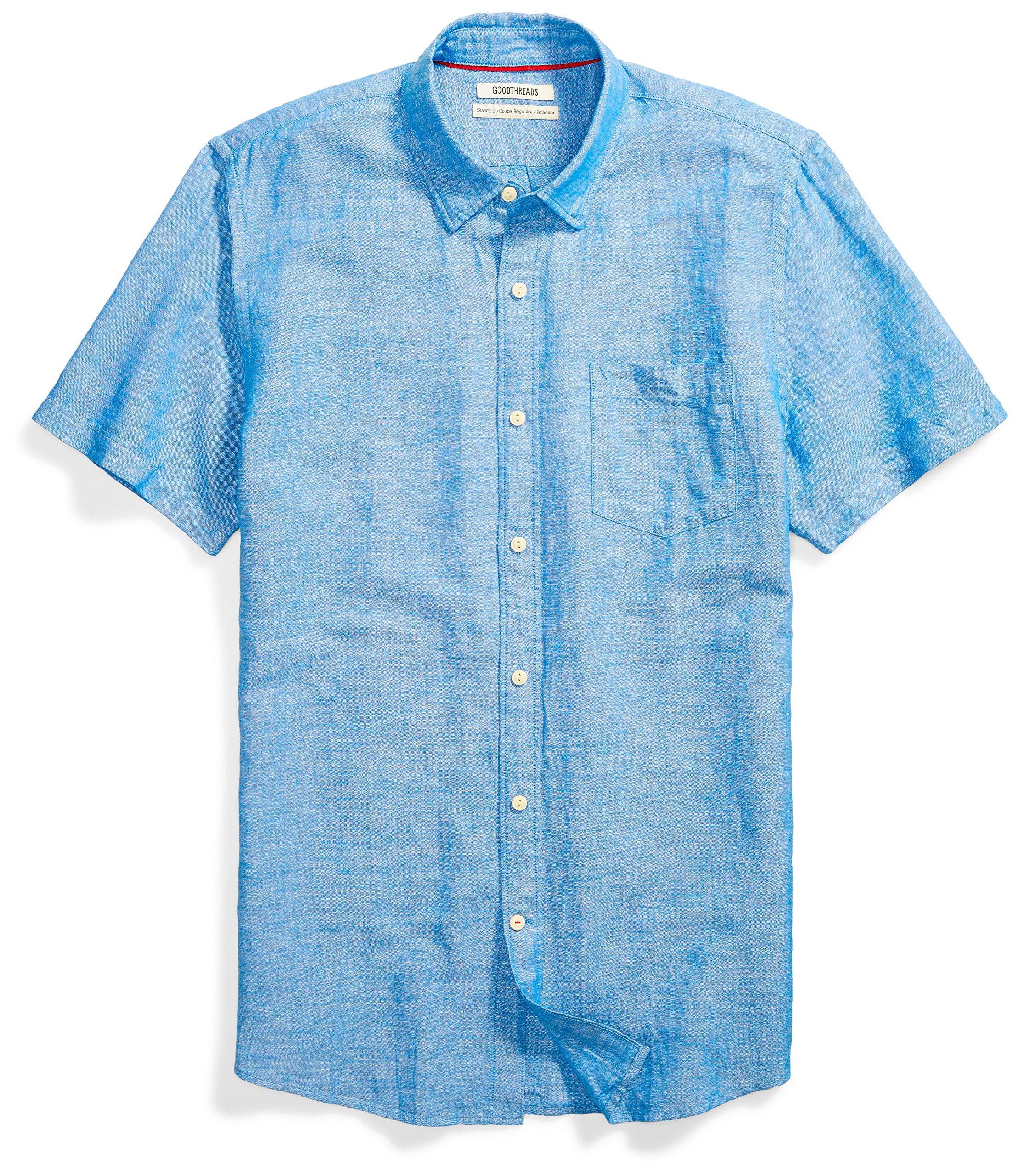 Goodthreads Men's Standard-Fit Short-Sleeve Linen and Cotton Blend Shirt, Bright Blue, Large