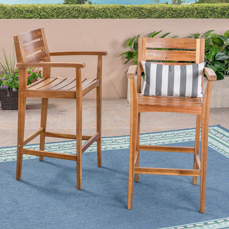 Great Deal Furniture 305814 Lera Outdoor Acacia Wood Barstool Gray Finish