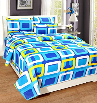 Charmant Home Elite Dynamic Rectangular 124 TC Cotton Double Bedsheet With 2 Pillow  Covers   Geometric,