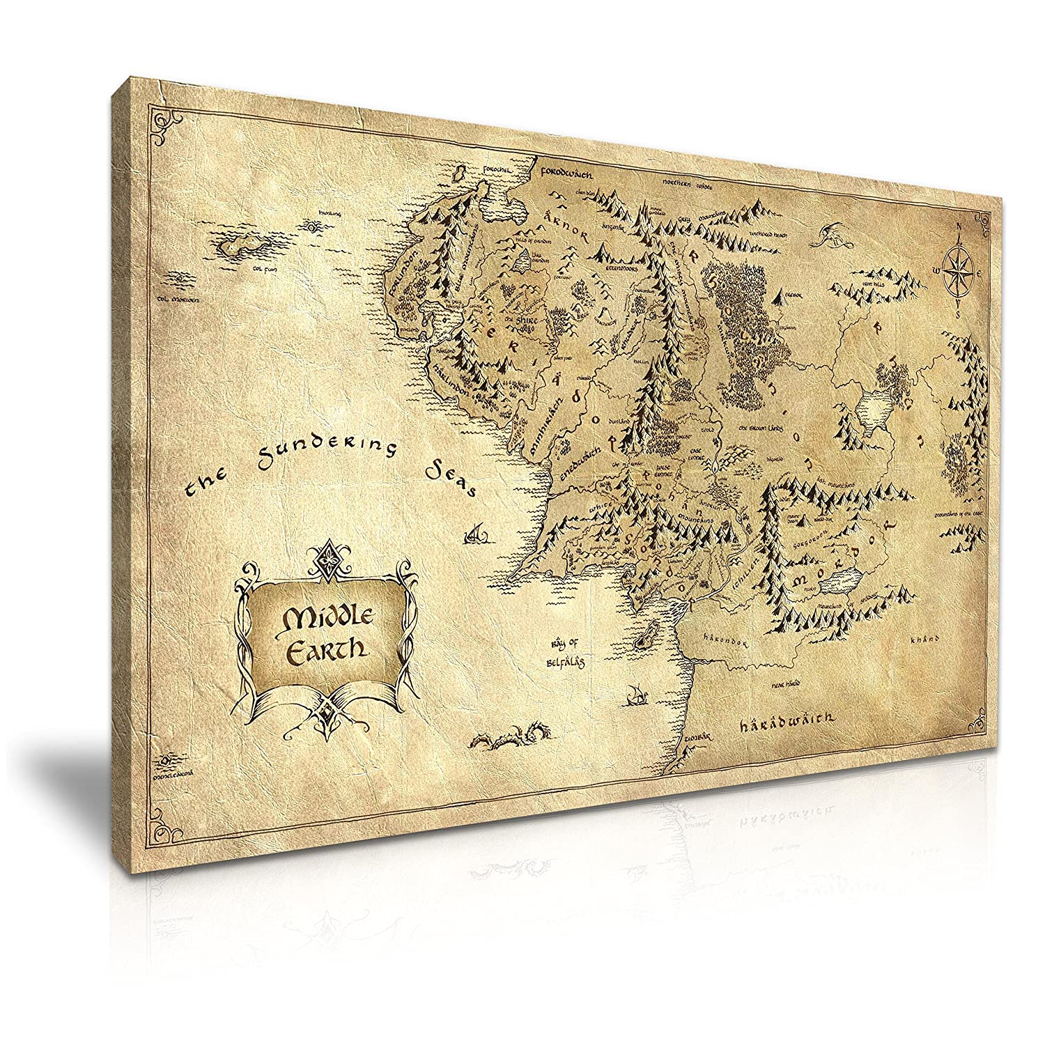 Hobbit Lord of the Rings Middle Earth Map Movie Stretched Canvas Wall Art Picture Print 76x50cm YES ART