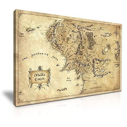Hobbit Lord of the Rings Middle Earth Map Movie Stretched Canvas