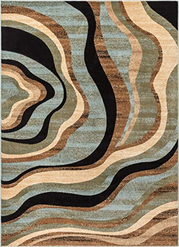 Hudson Waves Blue Brown Geometric Modern Casual Area Rug 7×10 6 7 x 9 6 Easy to Clean Stain Fade Resistant Shed Free Abstract Contemporary Natural Lines Multi Soft Living Dining Room Rug
