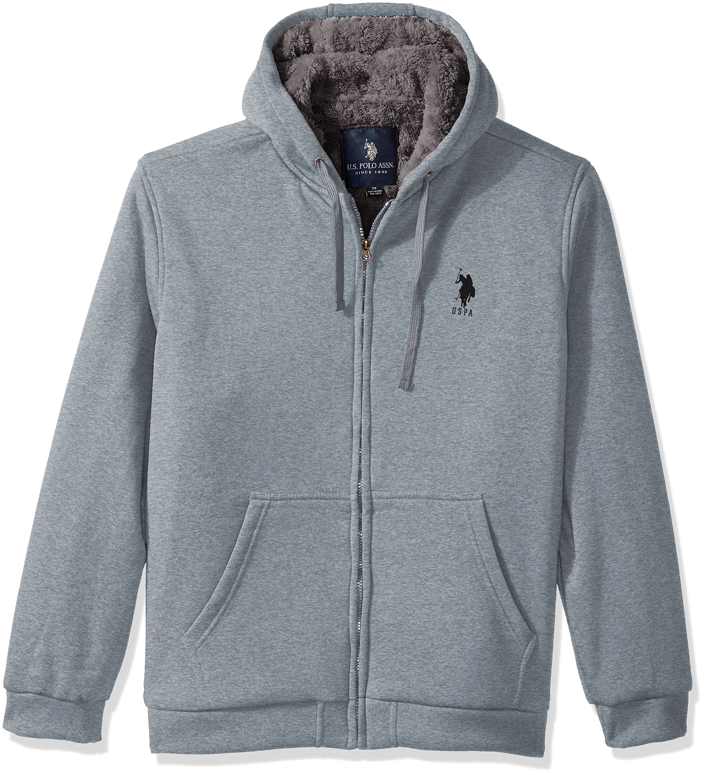U.S. Polo Assn.. Mens Standard Sherpa Lined Fleece Hoodie, Heather Grey 5516, 4X
