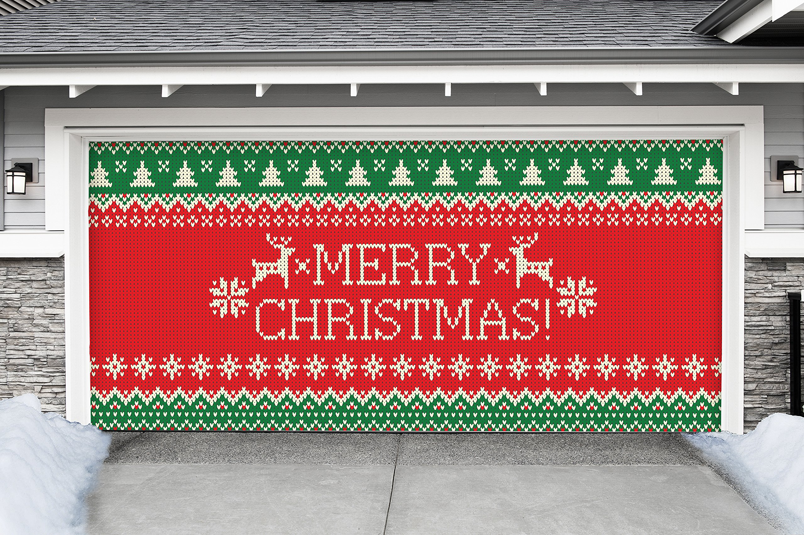 Outdoor Christmas Holiday Garage Door Banner Cover Mural Décoration - Ugly Christmas Sweater Merry Christmas - Outdoor Christmas Holiday Garage Door Banner Décor Sign 7'x16'