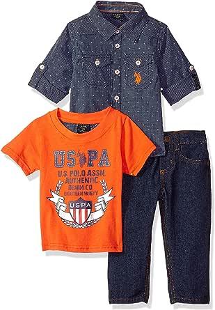 U.S. Polo Assn. Conjunto de camiseta y pantalón de manga larga para bebé
