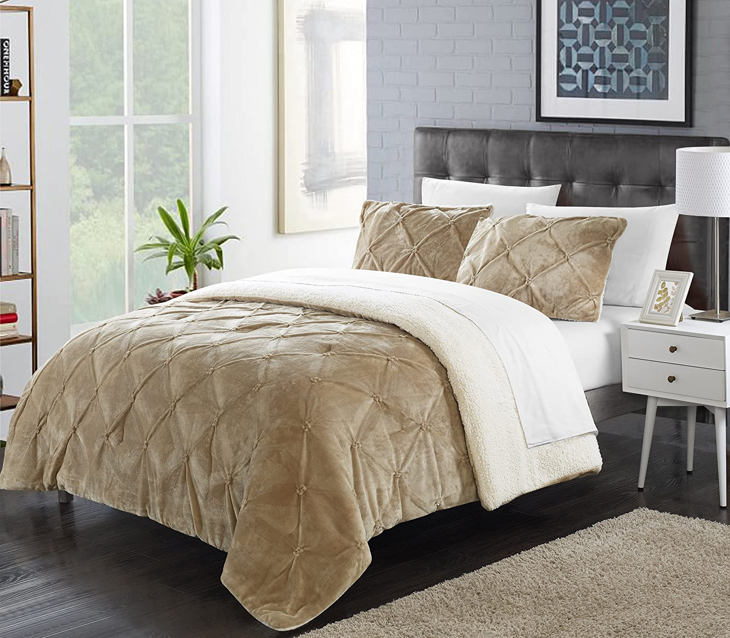 3 Piece Enzo Pinch Pleated Ruffled and Pintuck Sherpa Lined King Bed In a Bag Comforter Set Beige