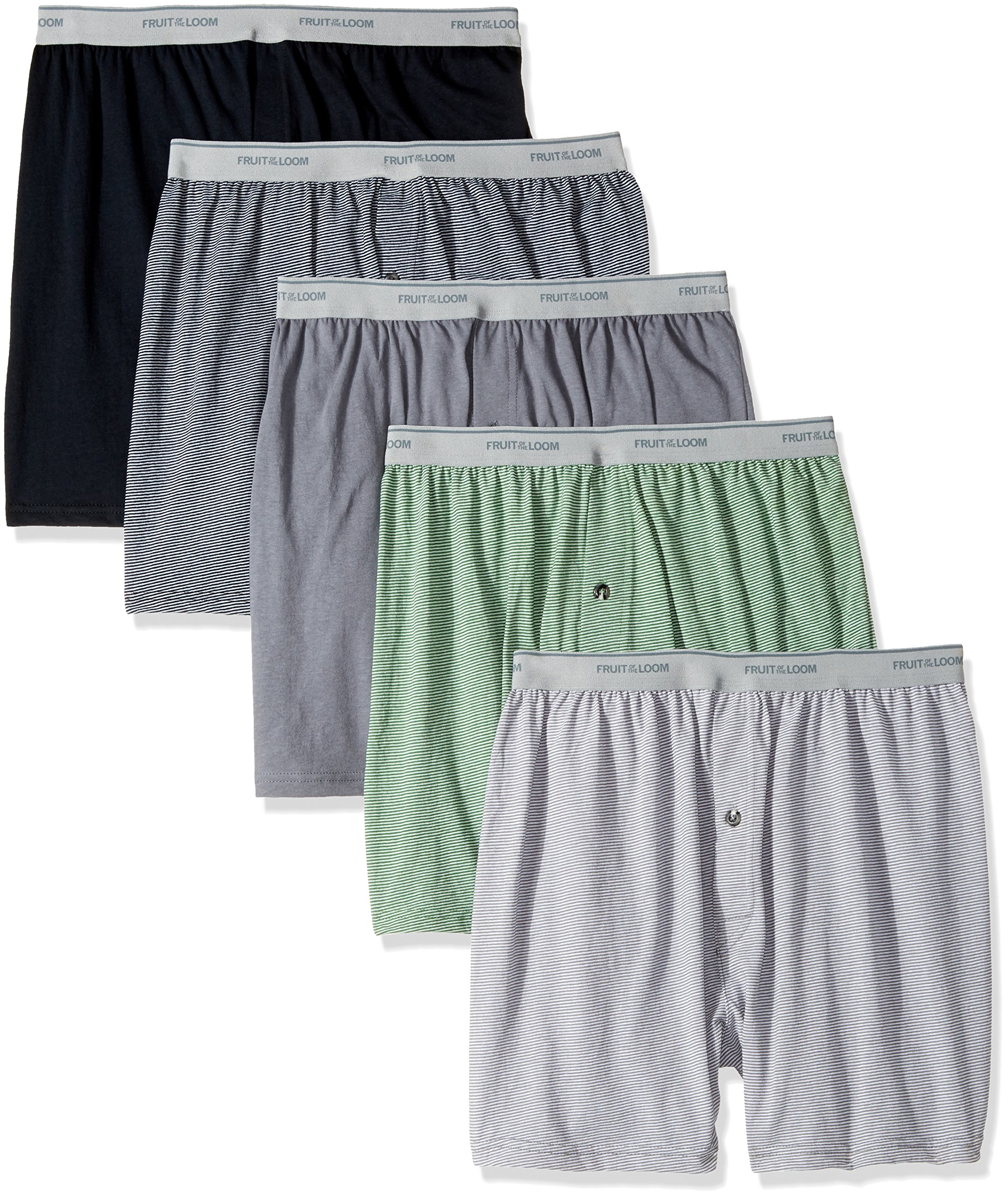 Fruit of the Loom Men's Exposed Waistband Knit Boxer (5 Pack), Assorted, Small