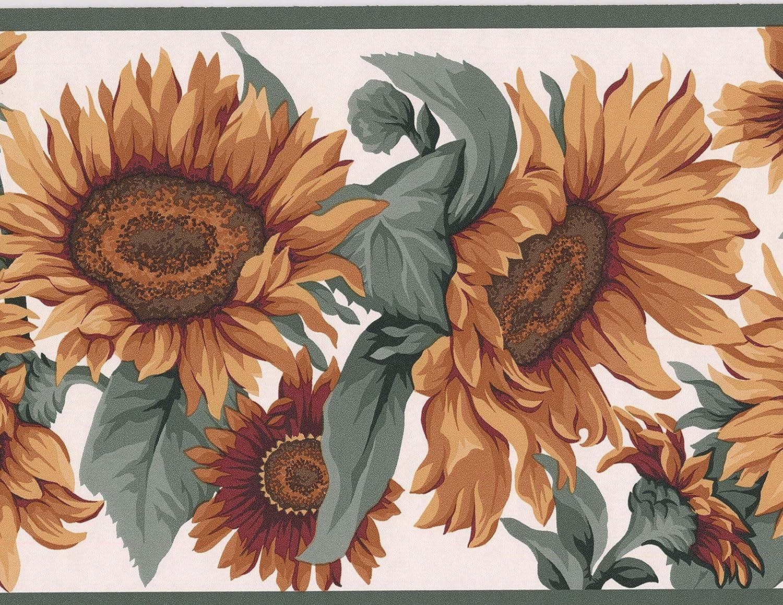 Yellow Sunflowers Floral Modern Wallpaper Border Nature Design
