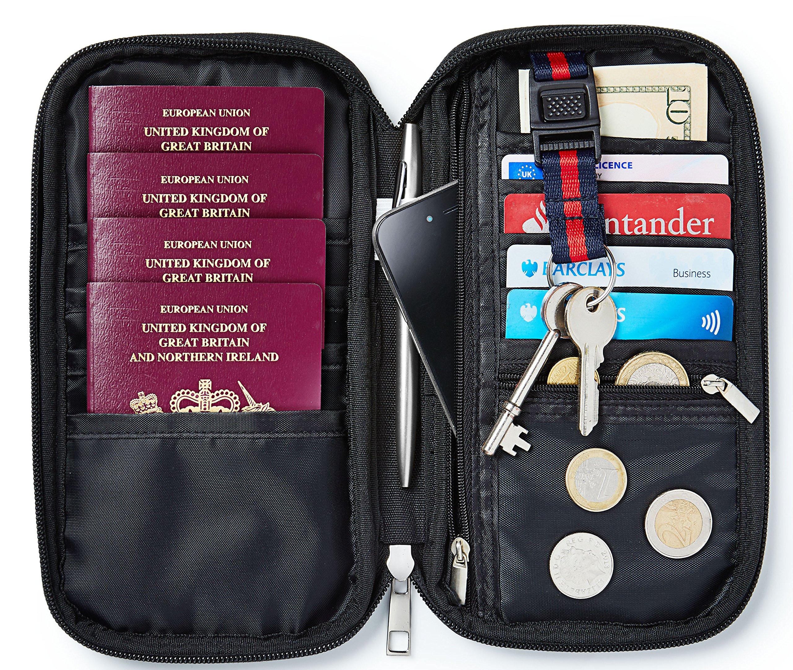 Quality Multi Purpose Travel Document Boarding Pass Organiser Passport Wallet Ticket Credit Card Holder W/Detachable Key Holder (Black)