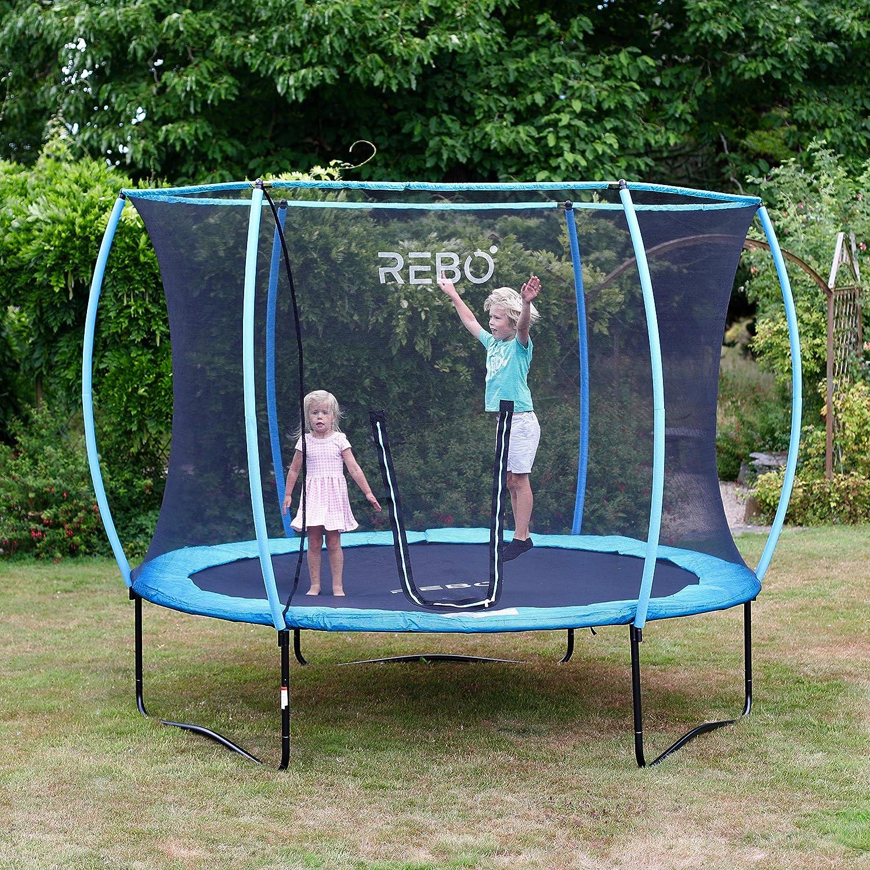 Rebo Jump Zone Trampoline, Cama elástica Completo con Red de Seguridad HALO - 240cm
